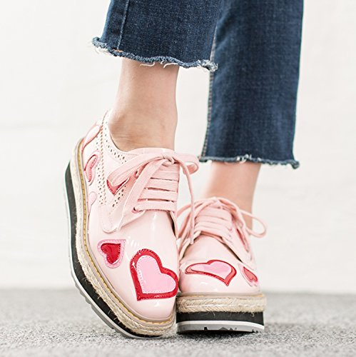 Pink Oxfords Heart Creeper Chunky Platform Patches Womens Shoes AnnaKastle U8qfPw