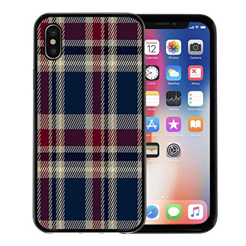 (Semtomn Phone Case for Apple iPhone Xs case,Blue Pattern Tartan Plaid Red Check Buffalo Chequered Lumberjack for iPhone X Case,Rubber Border Protective Case,Black)
