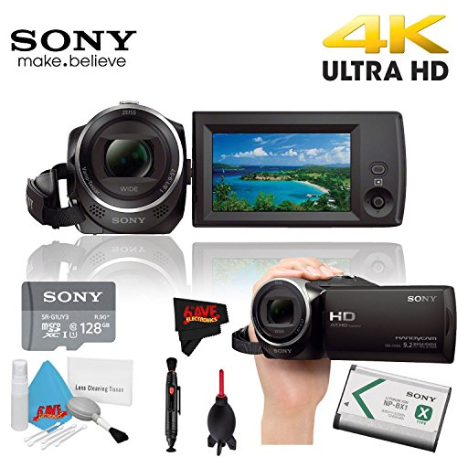 Sony HDR-CX405 Hd Camcorder Black + Sony 128Gb Uhs-I Microsdxc Memory Card () + Lens Pen Cleaner Year Warranty