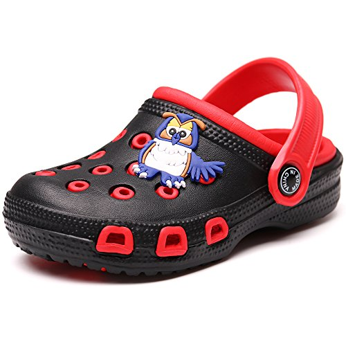 VILOCY Kid's Cute Garden Shoes Cartoon Slides Sandals Clogs Children Beach Slipper Black,30
