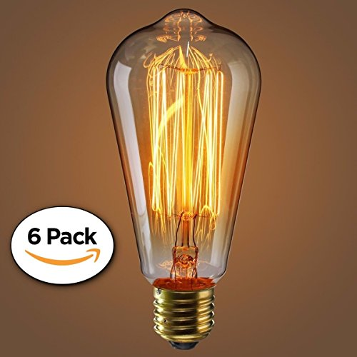Edison Bulb (60 Watt) | 6 Piece Vintage Incandescent Light Fixture For Home Office Lighting by SCANDIC GEAR (Fixtures Incandescent Lighting)