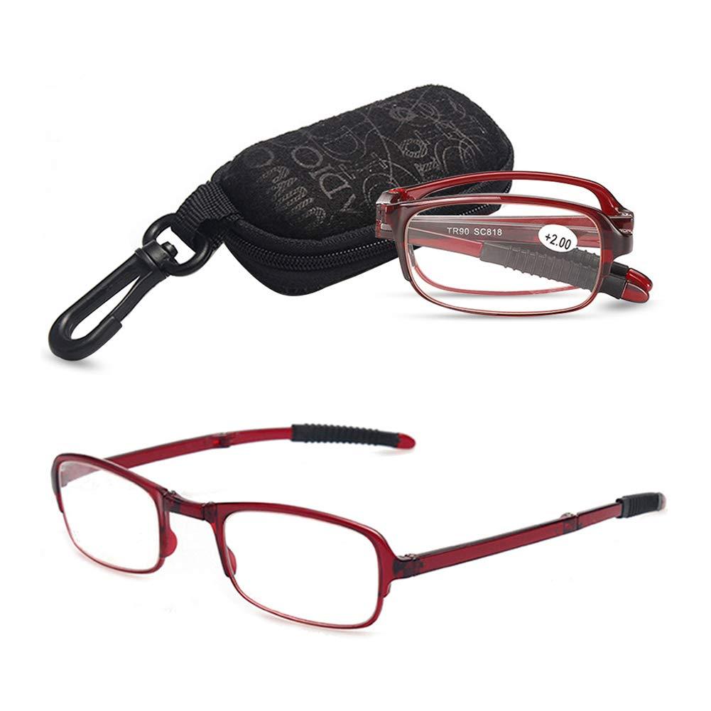 VEVESMUNDO Foldable Reading Glasses Men Women Spring Hinge Presbyopic Mini Anti-slip Eyeglasses With Case 1.0 1.5 2.0 2.5 3.0 3.5 4.0 Black Red Brown