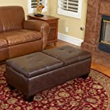 Cheap Great Deal Furniture 238354 Murray Double Opening Leather Storage Ottoman, Brown