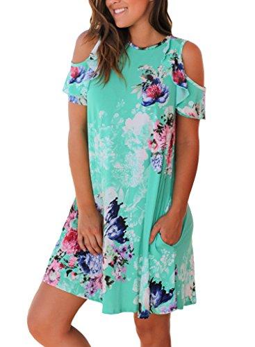 Sidefeel Women Cold Shoulder Short Sleeve Floral Print Mini Dress X-Large Green