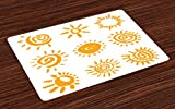 Lunarable Doodle Place Mats Set of 4, Cartoon Sun Designs Swirls Lines Abstract Illustration Center of Solar System, Washable Fabric Placemats for Dining Room Kitchen Table Decor, Marigold White