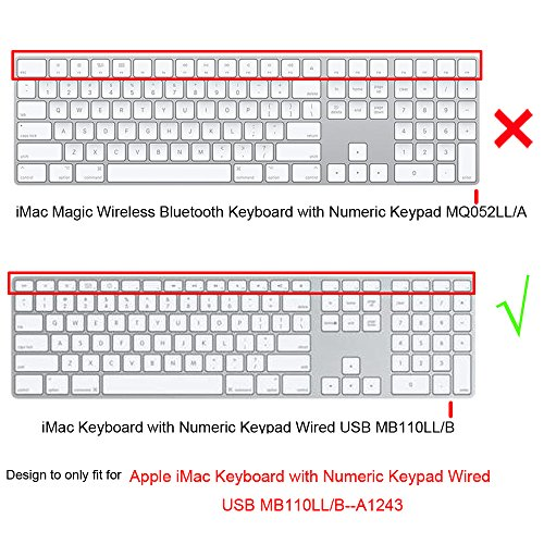 3bb7b86add1 ProElife Silicone Full Size Ultra Thin Keyboard Cover Skin for Apple iMac  Keyboard with Numeric Keypad