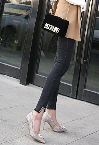 MDRW-Lady Elegant Elegant Elegant Arbeit Freizeit Feder 8 5 Cm Gitter All-Match High Heels Wies Metall Schnalle Schuhe Am Arbeitsplatz Fein Mit Einzelnen Schuhe Aprikose 744a5a