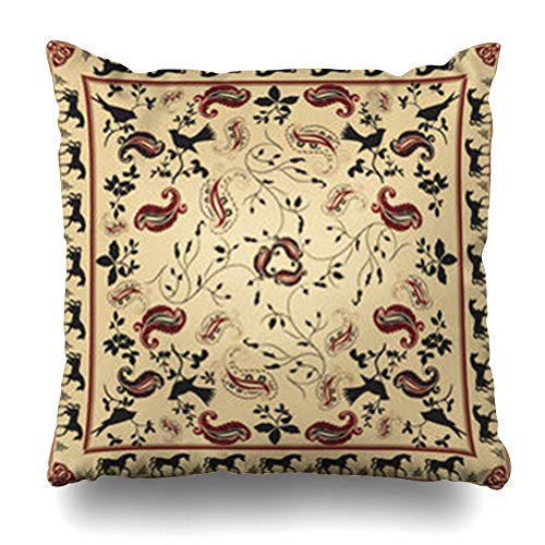 - Alfredon Throw Pillow Covers Kerchief Beige Paisley Retro Bandana Horse Bird Pattern Teal Scarf Border Celtic Shawl Vintage Leaf Pillowcase Square Size 20 x 20 Inches Home Decor Cushion Cases