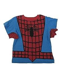 Little Boys Red Blue Black Spiderman Inspired Print Short Sleeve T-Shirt 2-4T