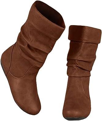 Ermonn Womens Mid Calf Riding Boots