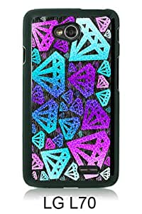Fashionable LG L70 Case,Purple Diamond Black Customized Case For LG L70 Case