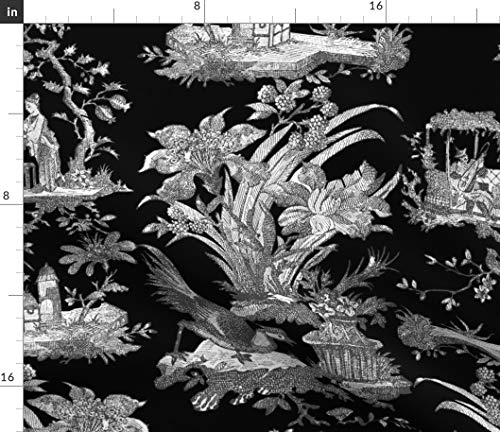 Spoonflower Toile Fabric - Chinoiserie Asian Black and White Black Modern Chinese Print on Fabric by The Yard - Denim for Sewing Bottomweight Apparel Home Decor Upholstery