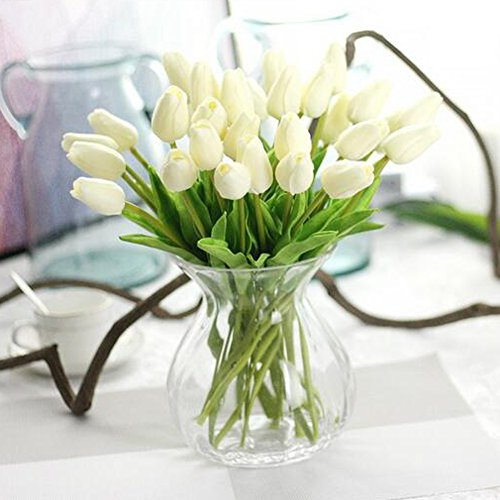 Julvie Fake Flowers Lifelike Artificial Tulip PU Flowers Wedding Home Decoration,Pack of 30 10