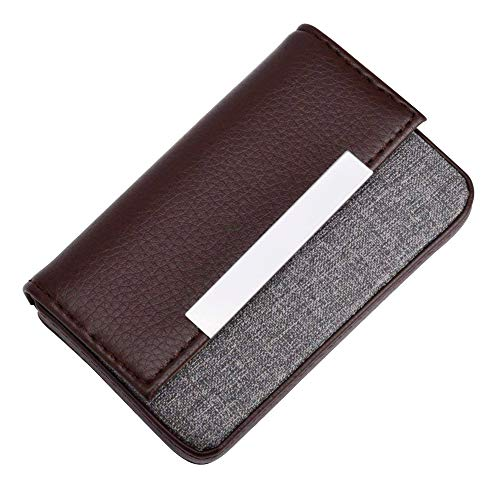 MaxGear Leather Business Card Cases Fashion Business Card Holder with Magnetic Shut, Holds 25 Business Cards, Men or Women Name Card Holder Case Coffee