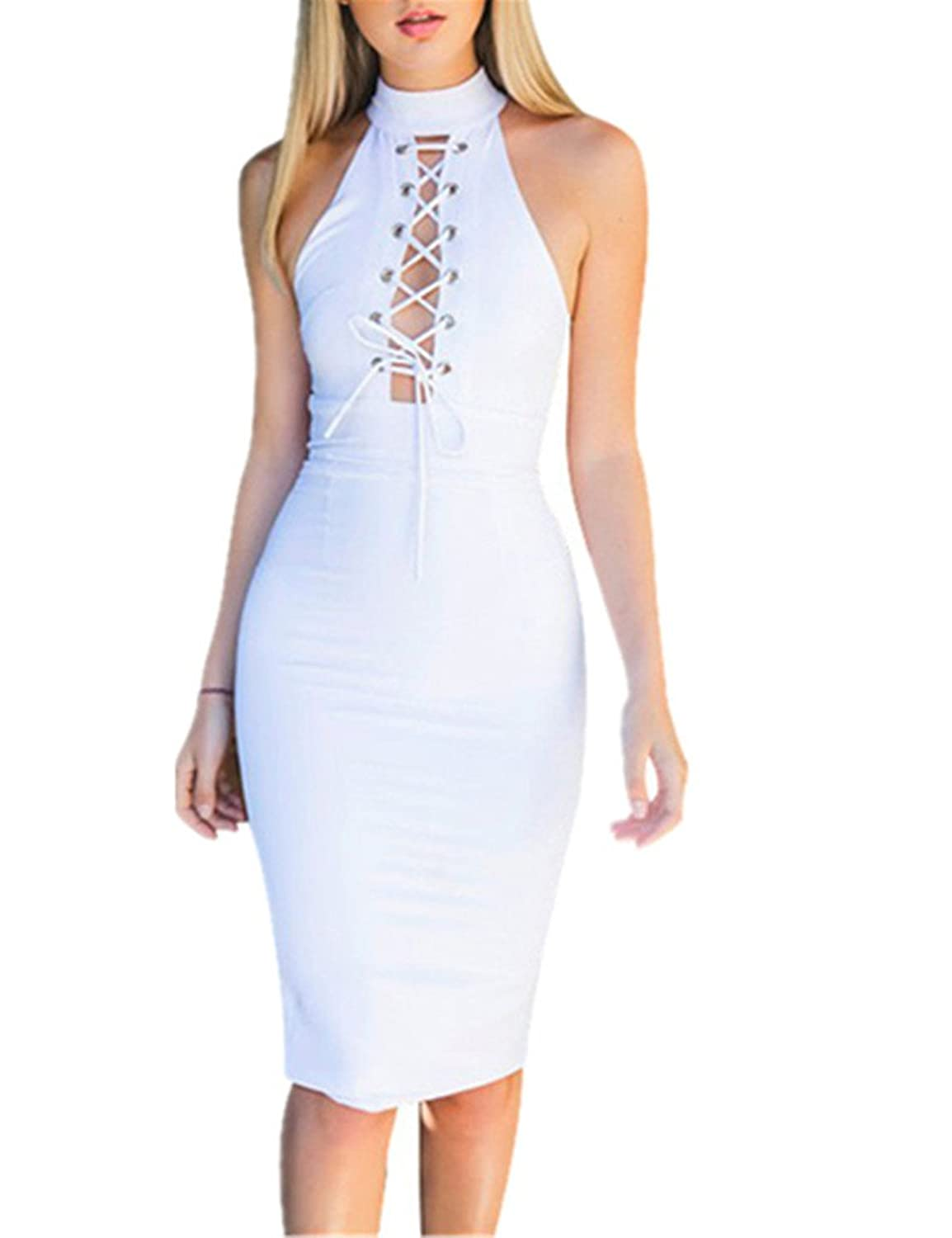 Ninimour Damen Ärmellos Cross Halter Tie Up Bodycon Bandage Midi ...