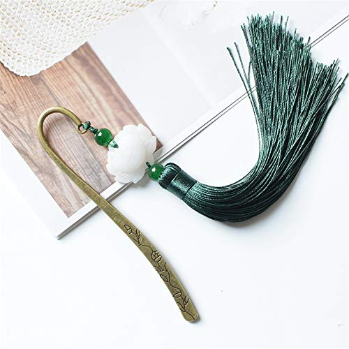 Metal Bookmark Tassel Bookmark Classical Chinese Style Creative Antique Gift, Malachite Green (Gift Box)