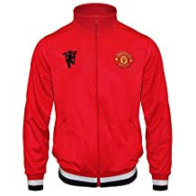 Manchester United FC Official Football Gift Mens Retro Track Jacket Red Large Soccer