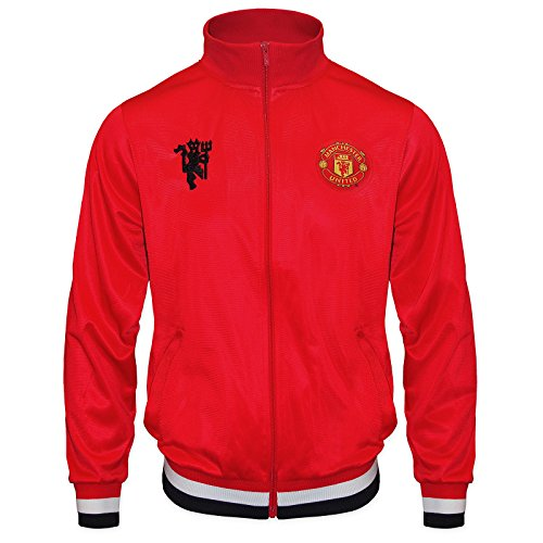 Manchester United FC Official Soccer Gift Mens Retro Track Jacket Red Large - Retro Soccer Jackets