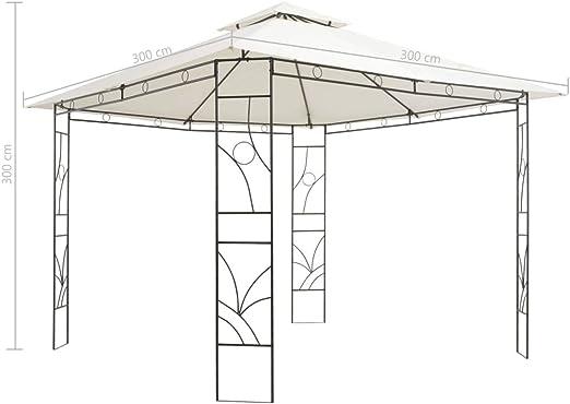 Tidyard Cenador Cuadrado Jardin 3 x 3 x 3 m Cenador de Jardin Crema (Toldo) y Negro (Estructura) de Techo de Tela y Estructura de Hierro: Amazon.es: Hogar