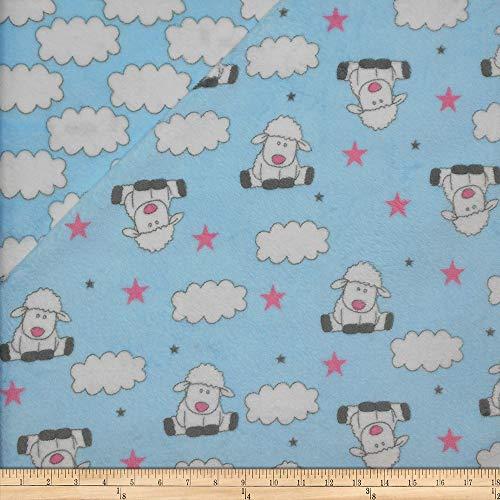 Mook Fabrics USA LP Plush Fleece 2 Sided Sheep Fabric, 1, Blue, Fabric by the Yard