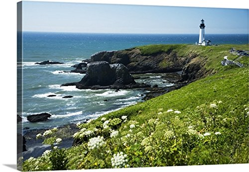 Peter French Premium Thick-Wrap Canvas Wall Art Print entitled Oregon, Central Coast, Yaquina Head Historic Lighthouse And Natural Wilderness Area (Wilderness Area Framed)