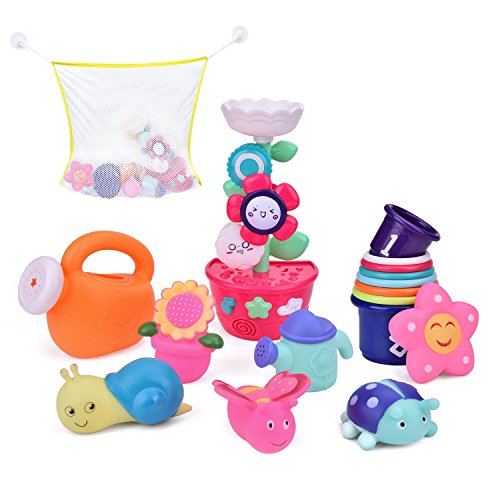 (9 PCs Bath Toys Toddlers, Flower Waterfall Water Station Garden Squirter Toys, Stacking Cups Watering Can, Bath Toy Organizer Included Gift for Kids)