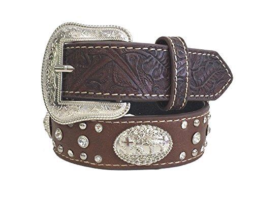 [Kids Unisex Western Belt Silver Buckle Praying Cowboy Concho Coffee, Large] (Western Rhinestone Star Concho)