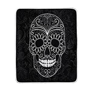 ALAZA Home Decor Black Floral Day of the Dead Sugar Skull Soft Warm Blanket for Bed Couch Sofa Lightweight Travelling Camping 60 x 50 Inch Throw Size for Kids Boys Women