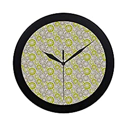 C COABALLA Abstract Circular Plastic Wall Clock,Pale Retro Floral Designs in Circles Asian Japanese Inspired Blossom for Home,9.65 D
