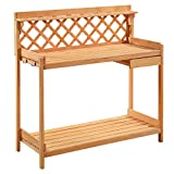 Eminentshop Potting Bench Outdoor Garden Work Planting Bench Solid Wood Construction