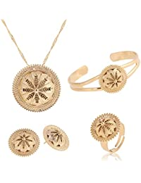 Hat Habesha Jewelry Gift Gold Plated Ethiopian Necklace Pendant Earring Ring Bangle Sets