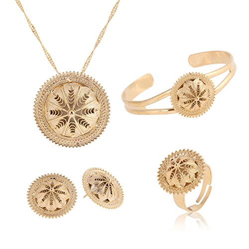 Hat Habesha Jewelry Gift Gold Plated Ethiopian Necklace Pendant Earring Ring Bangle Sets