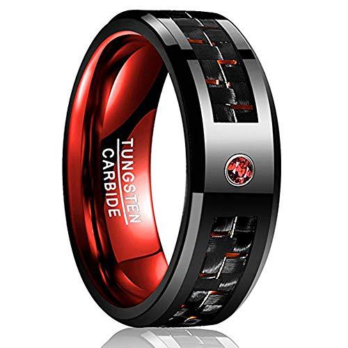 VAKKI Tungsten Carbide Ring for Men Polished Finish Red Carbon Fiber CZ Beveled Edge Wedding Band Comfort Fit Size 7 ()