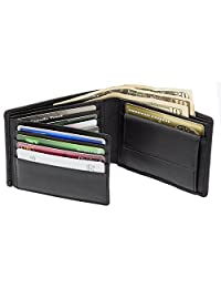 Mens RFID Leather Bifold Wallet Flip out with Change/Coin Pocket SD 013 (Black)