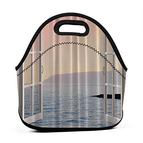 Removable Shoulder Strap Ocean Decor Waterfront Coastal,View Panorama Panoramic View Decor Blue Ocean Ombre Pink Sky Sunset Mountains Art Island White Rustic,office lunch bag for men