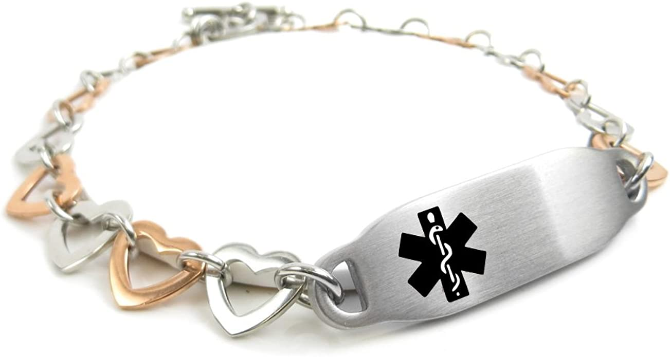 My Identity Doctor White Pre-Engraved /& Customizable Diabetes Type II Toggle Medical Bracelet Steel Hearts