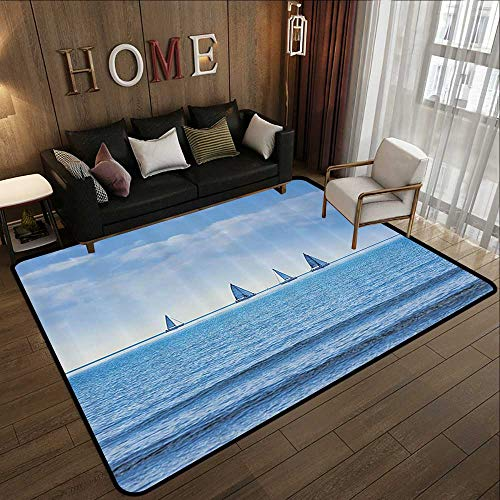 Bathroom mats and Rugs,Nautical Decor,Racing Yachts on The Ocean Water Regatta Race Panoramic Distant View Relax Win Photo,Light Blue 71