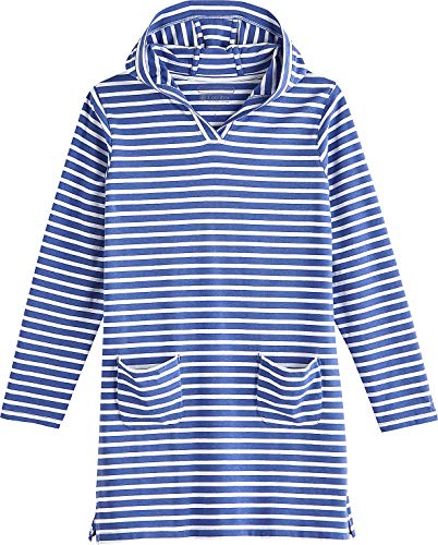 Coolibar UPF 50+ Girl's Beach Cover-Up Dress - Sun Protective (X-Small- Empire Blue/White Stripe)