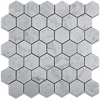 Carrara White Bianco Carrera Hexagon Mosaic Tile Honed - 2 carrara marble hexagon floors