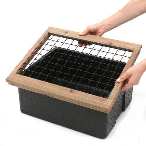 発泡スチロール箱 本体(黒)とフタ(白)と木枠(ネット付)【HLS_DU】