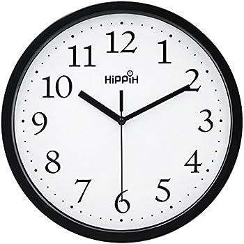 Amazon.com: Hippih Black Wall Clock Silent Non Ticking ...