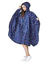 Women's Stylish Rain Poncho Waterproof Rain Coat with Hood