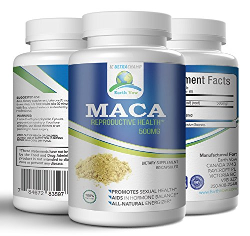 Maca Root Pills – Premium Organic Reproductive Health Supplement - 60 Capsules - For Men & Women – Increase Your Libido and Energize Risk Free with 100% Money Back Gaurantee!