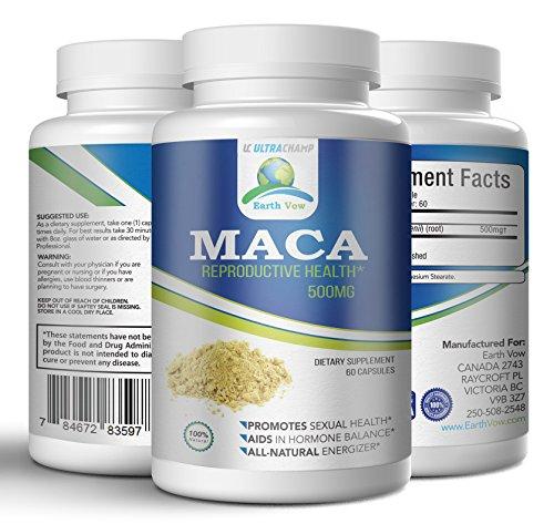 Maca Root Pills – Premium Organic Reproductive Health Supplement - 60 Capsules - For Men & Women –