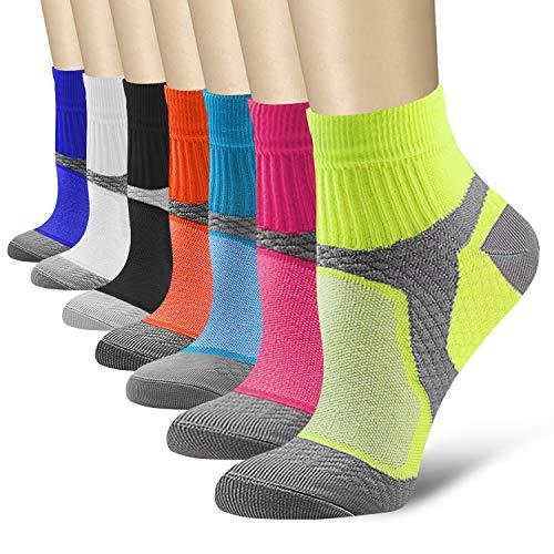 Compression Socks for Women and Men Sport Plantar Fasciitis Arch Support Low Cut Running Gym Compression Foot Socks/Foot Sleeves 15-20 mmHg Best for Sports Nursing Athletic Edema Travel(Multi 02,L/XL)