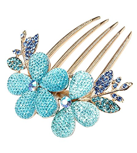 Charm Fashion Lady Girl Flower Pattern Alloy Rhinestone Barrette Hair Clip Comb Blue
