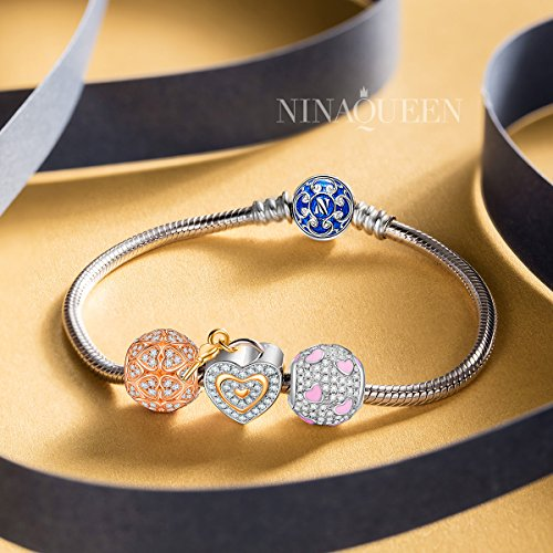 NINAQUEEN 925 Sterling Silver Charms with Fine Package, Heart Shape Beads Suitable for Necklace as Graduation Gifts for Kids