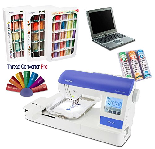 Brother PE-770 Embroidery Machine I-WANT-IT-ALL PACKAGE (Thread, Designs, Stabilizers, FREE Laptop) (Embroidery Machine Package Designs)