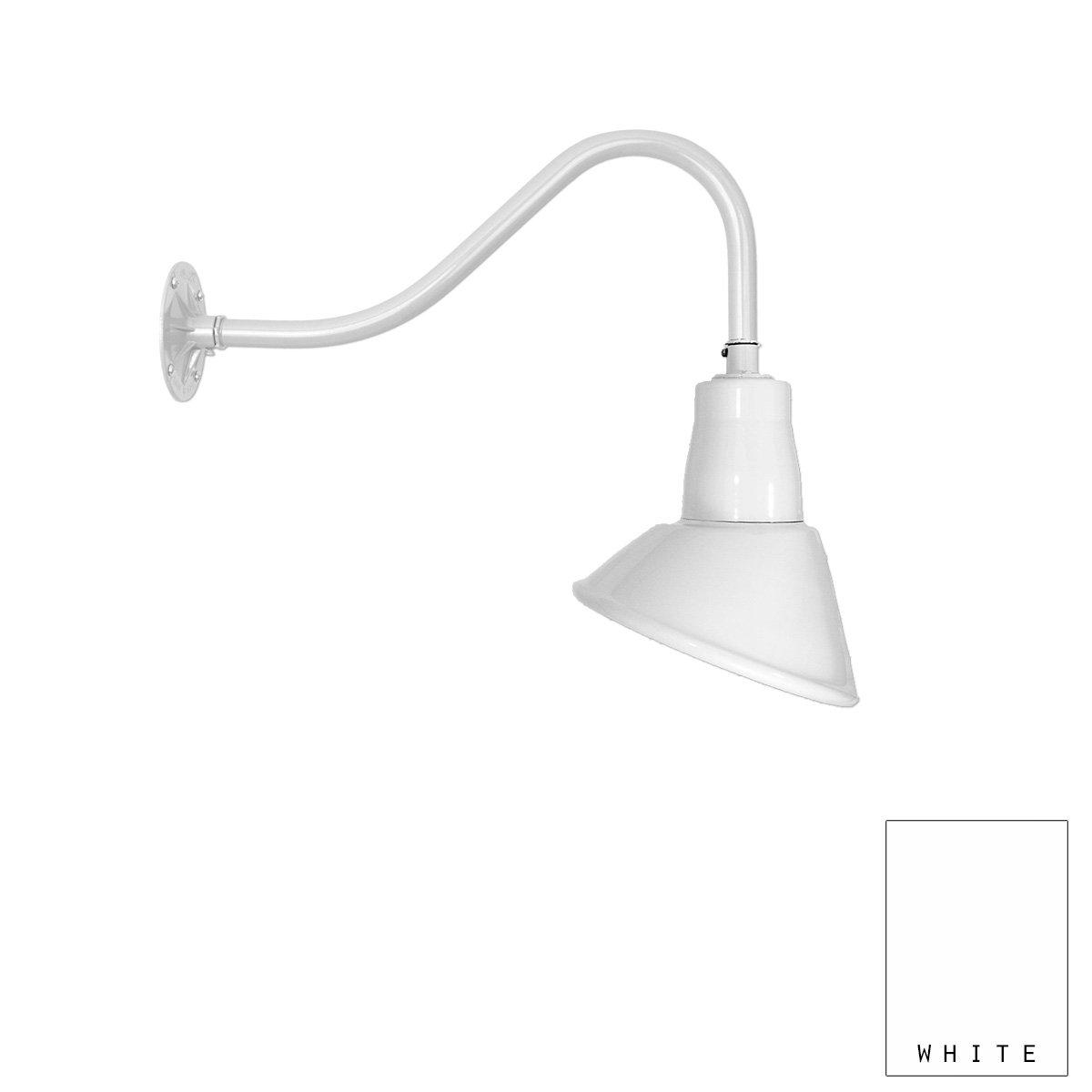 Aluminum Gooseneck Light | Classic Sign Light | 9.5'' Shade | 16'' Arm | Barn Light | 8 Colors (#20/859X) (White)