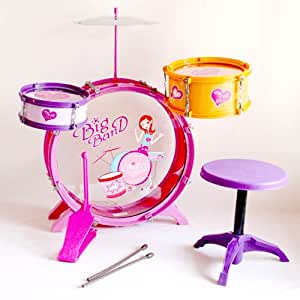 Wonders Shop USA Kids Instrument New Drum Play Set 8 Pcs for Girls - PINK